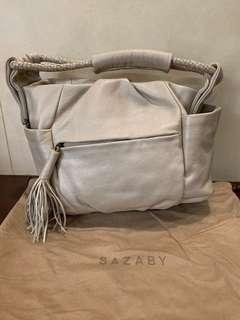 🚚 Sazaby Beige/Tan A-Tote Handbag with Tassel Charm on front zipped pocket