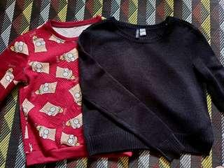 BUY ONE FREE ONE / H&M S-Sized Black Sweater + Free Bart's Sweater