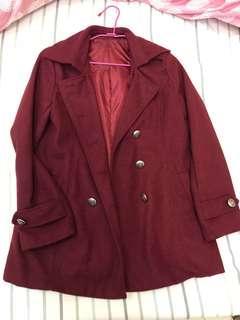 二手 酒紅冬季大衣 微長版
