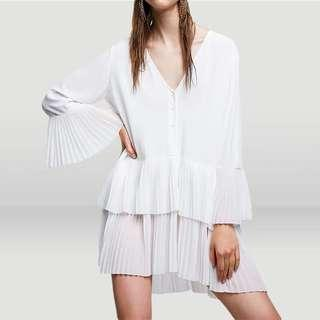 Zara Contrasting Pleated Blouse