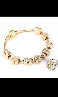 Charm Bracelet & Bangle Tree of life Pendant & Gold Crystal Ball Beads