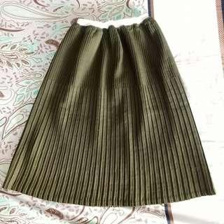 Army Pleated Midi Skirt
