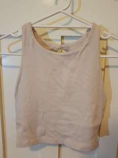 Kookai beige open back crop top size 1