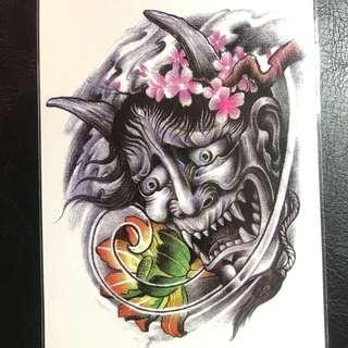 Japanese Hannya Demon Mask Hooligan Triad Half Sleeve Temporary Tattoo Sticker