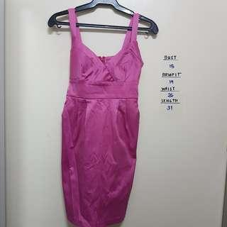 Fuschia pink silk sexy dress