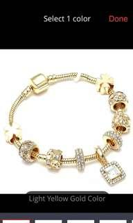 🚚 Luxury Crystal Heart Gold Color Charm Bracelet