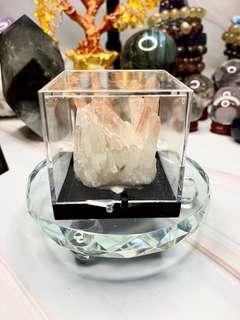 天然原礦紅兔毛白晶簇