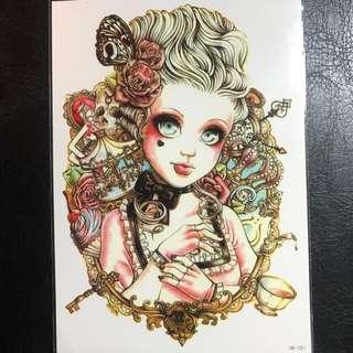 Girly Dolly Girl Sexy Colour Feminine Half Sleeve Temporary Tattoo Sticker