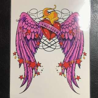 Angel Wings Pink Colour Half Sleeve Feminine Temporary Tattoo Sticker
