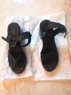Top shop 黑色粗跟鞋(36)