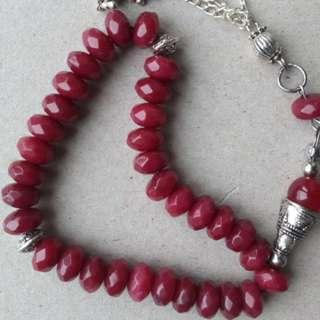 TASBIH RUBY STONE abacus cutting 33 beads