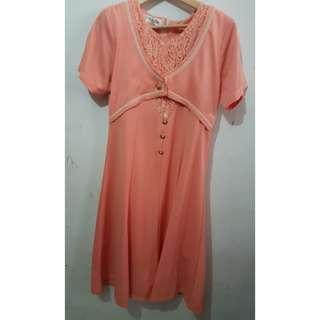 Mididress Dress Orange Soft Salem atasan kondangan prom nite
