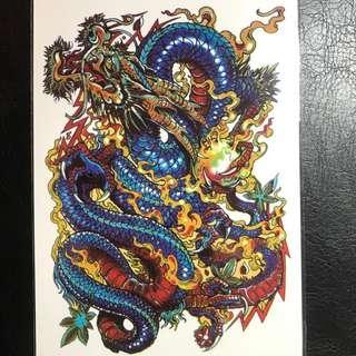 Traditional Japanese Chinese Dragon Half Sleeve Temporary Tattoo Sticker