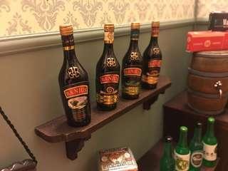 No.A10🍾4支裝Baileys酒 miniature 微型 微縮藝術 可配re-ment mimo 扭蛋 食玩 Blythe 黏土人合用