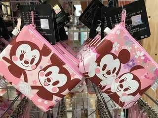 🚚 櫻花季限定🌸米奇米妮拉鍊零錢包