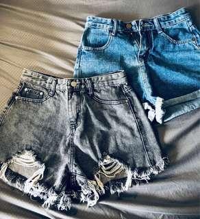 high waisted denim shorts [ clearance ]