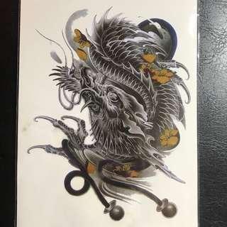 Traditional Chinese Dragon Hooligan Ganster Mafia Yazuka Half Sleeve Temporary Tattoo Sticker Many More Designs! S010
