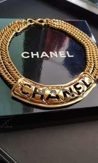 🚚 RARE!! Chanel Cut Logo Plaque Necklace Gold