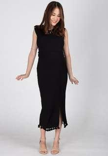 🚚 Jumpeatncry black tassel nursing maternity dress