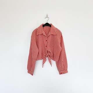 🚚 二手 紅白 格紋 綁帶 短版 襯衫 性感 明太子 B324