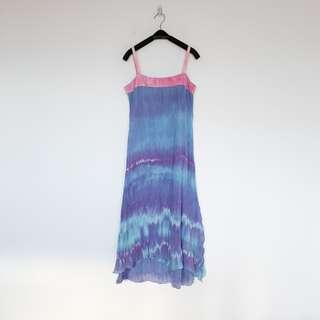 🚚 二手 藍粉紅 暈染 皺褶 洋裝 明太子 B324