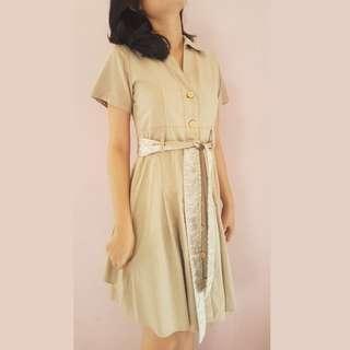 Button Cream Dress - Gaun Krem Wanita Kancing Model Klasik