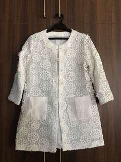 White Lace Spring Coat with Pearls