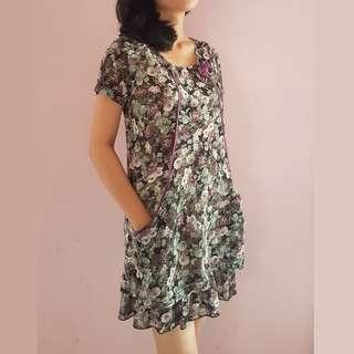 Floral Mini Dress - Gaun Wanita Klasik Motif Bunga