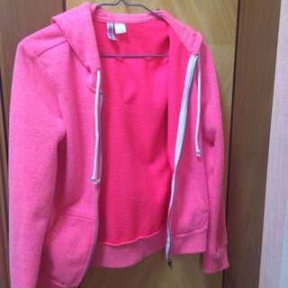 H&M zip up hoodie pink