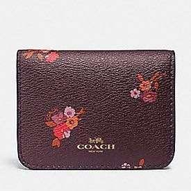 BN Brand New Coach Biford Card Case Floral Brown Oxford Baby Bouquet Prints Print Flower Flowers F32008 MULTI/LIGHT GOLD