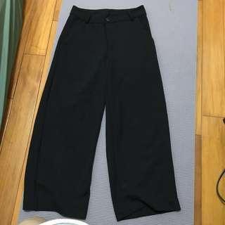 🚚 黑色八分寬褲