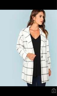 格紋外套 grid square white trench coat