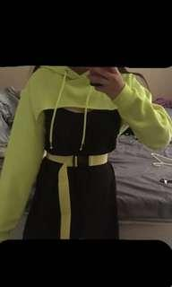 Fluor yellow cropped jumper and belt