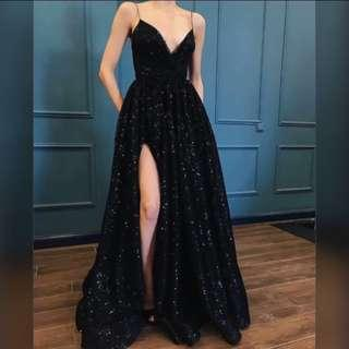 BLACK GOWN WITH SLIT FOR RENT