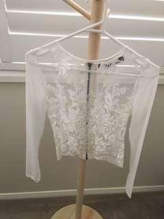 Heart n Soul mesh white cropped tee size 8