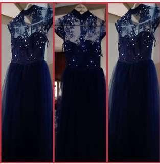blue lace long gown