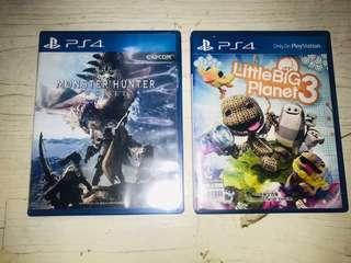 BUNDLE: PlayStation 4 games: Little Big Planet 3 and Monster Hunter