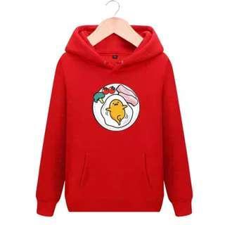 PO Gudetama Egg Long Sleeve Red Hoodies