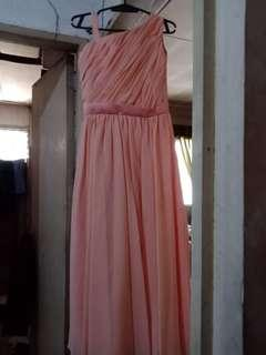 peach one shoulder long gown