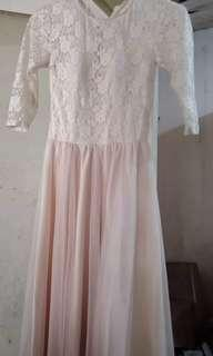 cream lace long gown