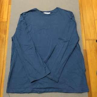寬版灰寶藍色長袖T
