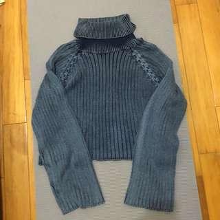 🚚 高領灰藍仿舊編織短版毛衣