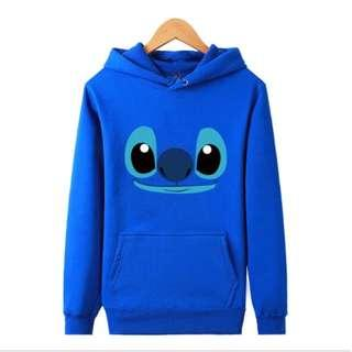 PO Smiling Stitch Blue Long Sleeve Hoodies