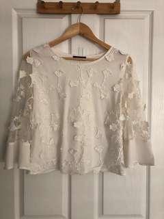 Cute white l/s top