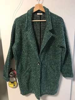 Pull & Bear mixed yarn green coat 綠色外套