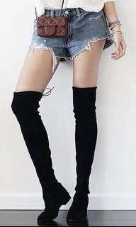 100%New韓國猄皮彈性黑色蓋膝修腳瘦腿長靴Korea black long boots