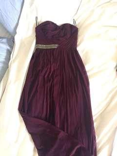Burgundy full length maxi ruched bandeau crepe dress