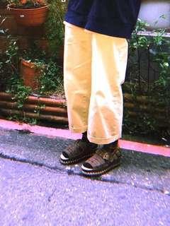 含運)咖啡棕色麂皮厚底涼皮鞋