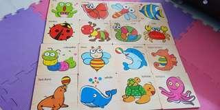 🚚 ~近全新兒童木製益智拼圖 共16種圖案一起售