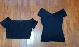 🚚 Off shoulder black tops